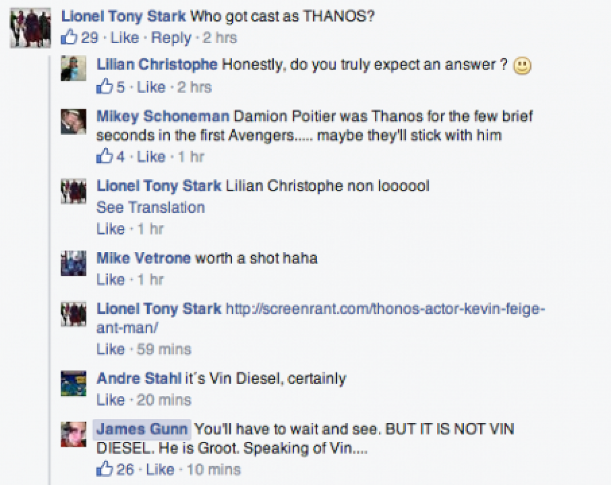 James Gunn Says Vin Diesel Isn't Thanos In Guardians Of The