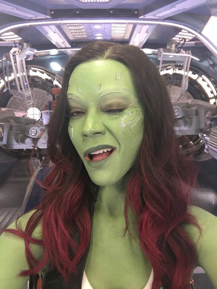 Zoe Saldana Shares Photos Of Gamora From Guardians Of The Galaxy Vol. 2 Set