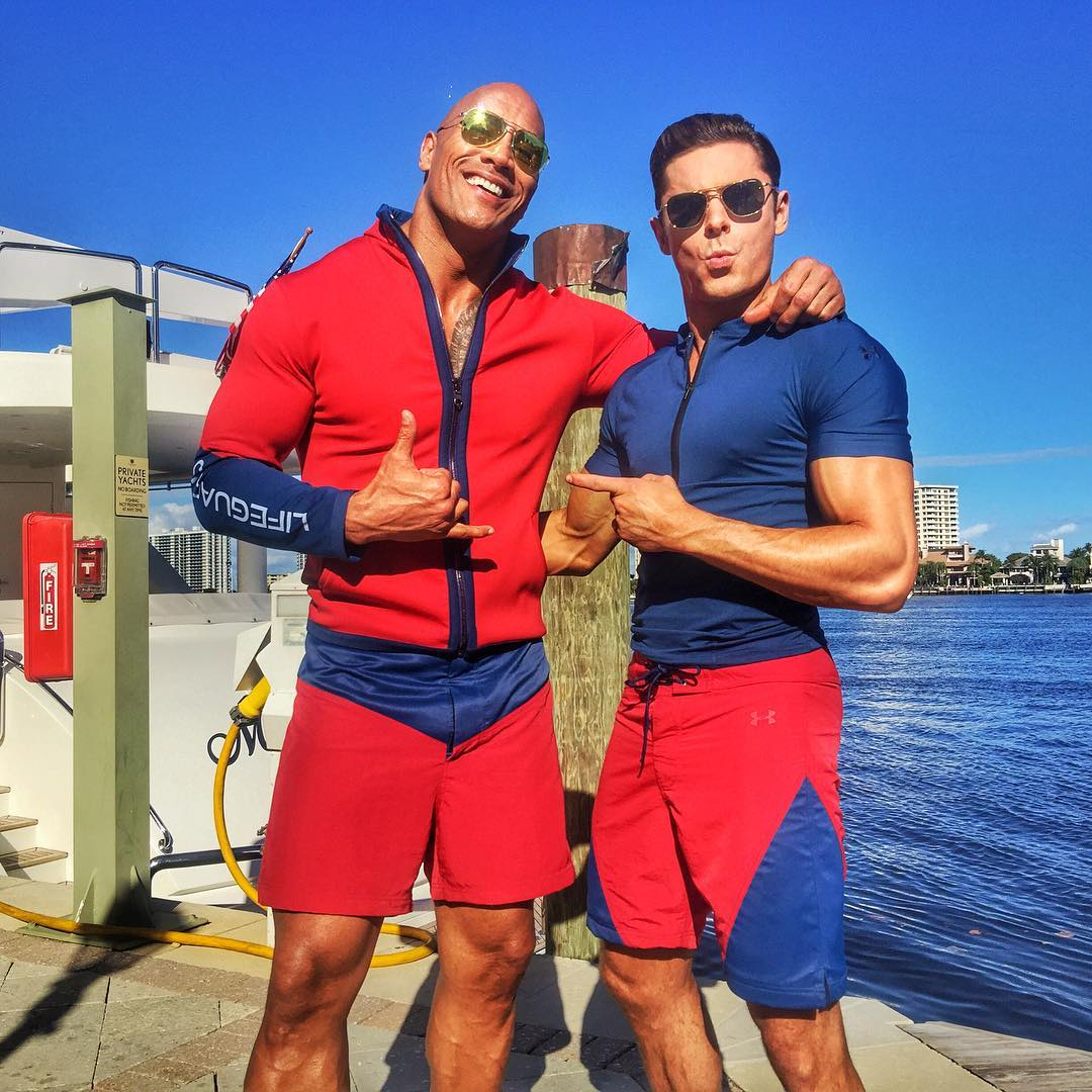 First Look At Zac Efron And Dwayne Johnson On The Set Of Paramount's Baywatch