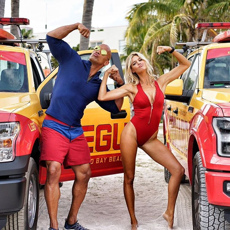 Dwayne Johnson And Kelly Rohrbach Strike A Pose In New Baywatch Photo