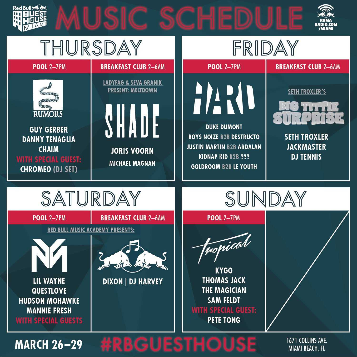 Red Bull Guest House Announces Full Lineup For Miami Music Week