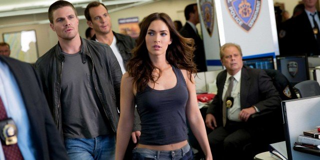 Left to right: Stephen Amell plays Casey Jones, Will Arnett plays Vernon Fenwick and Megan Fox plays April O'Neil in Teenage Mutant Ninja Turtles: Out of the Shadows from Paramount Pictures, Nickelodeon Movies and Platinum Dunes