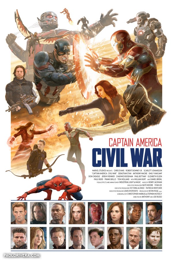 Paolo Rivera Unveils His Incredible Cast And Crew Poster For Captain America: Civil War
