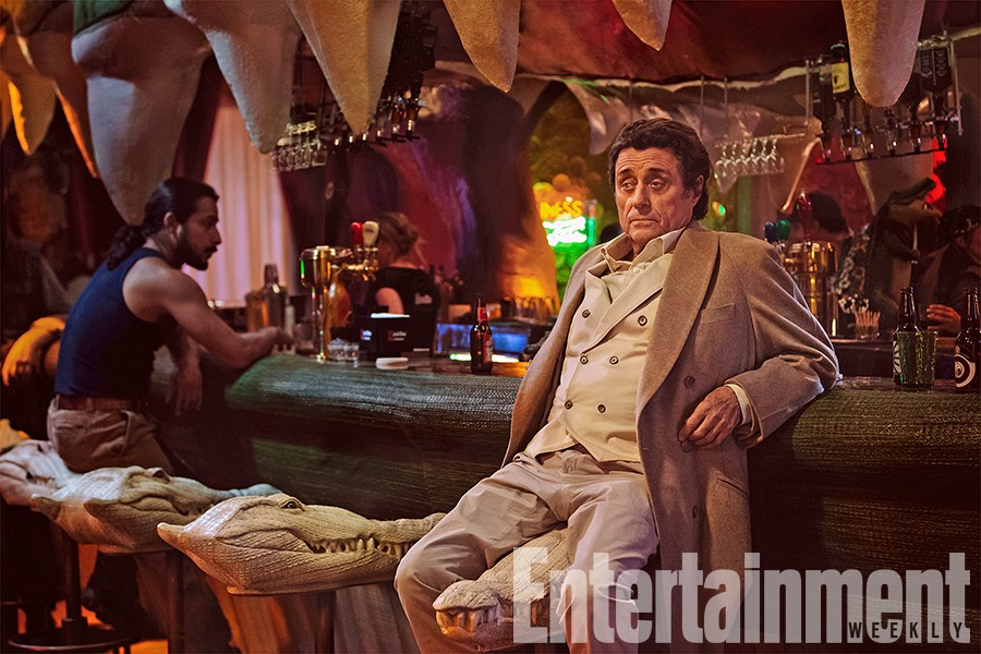 First American Gods Images Feature Shadow, Mr. Wednesday And Mad Sweeney