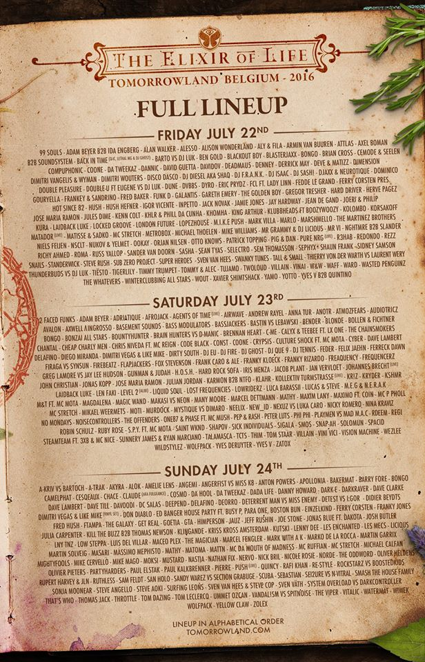 Check Out The Full Final Lineup For This Year's Tomorrowland
