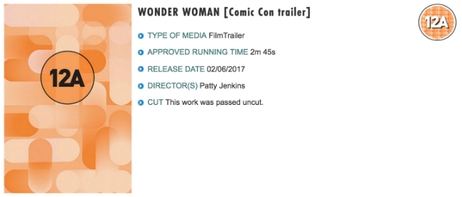 Wonder Woman Trailer Officially Classified Ahead Of Comic-Con Reveal
