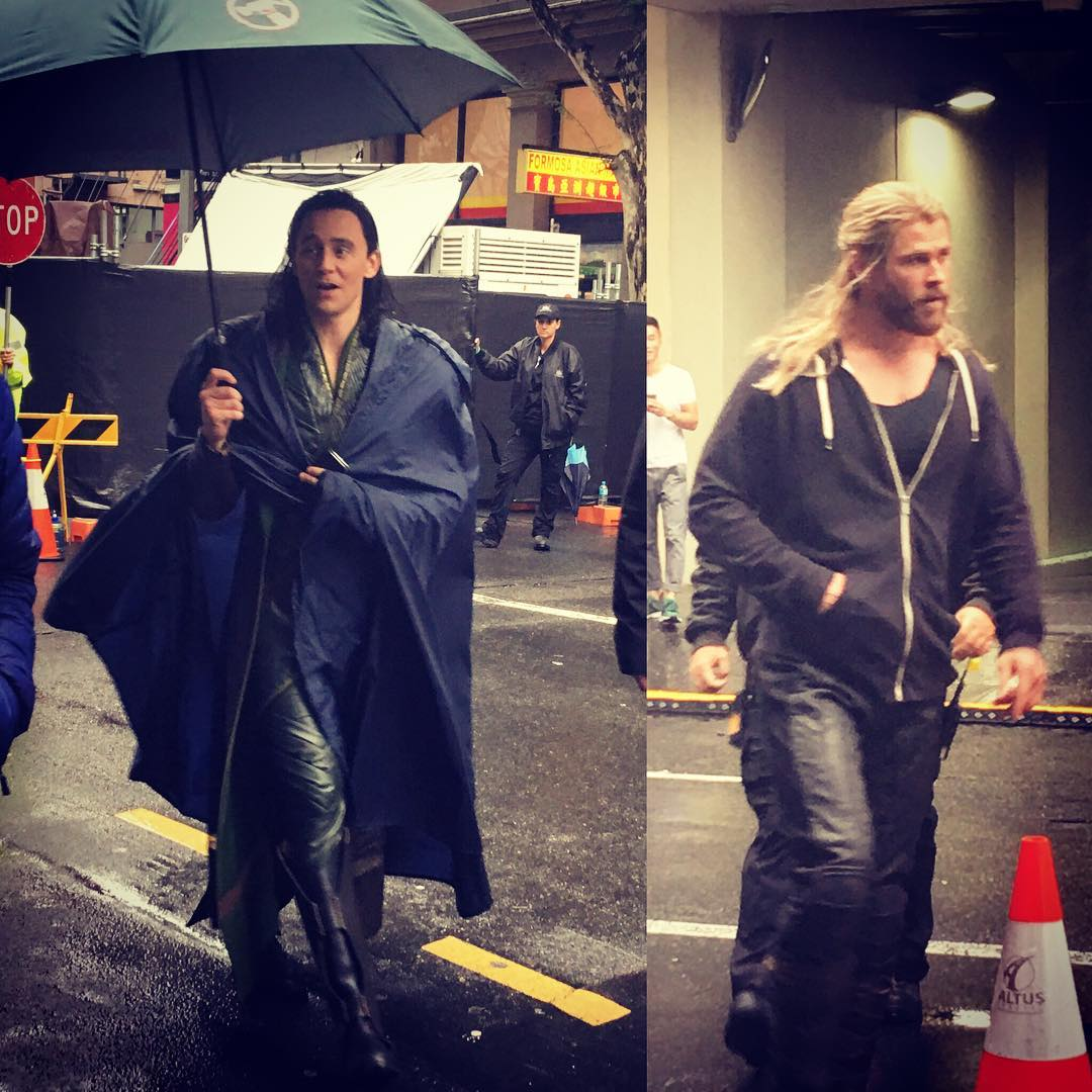 Thor: Ragnarok Set Photos Tease Loki's New Costume And A Mysterious Female Character