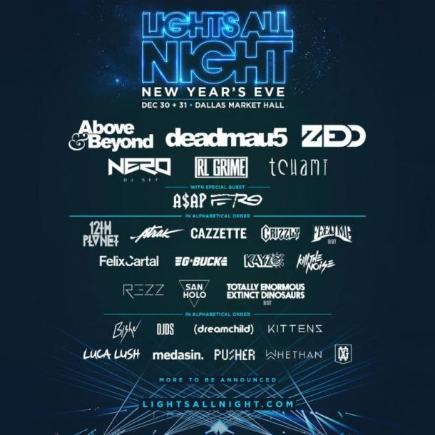 Deadmau5, Nero And Zedd Top Lights All Night Lineup