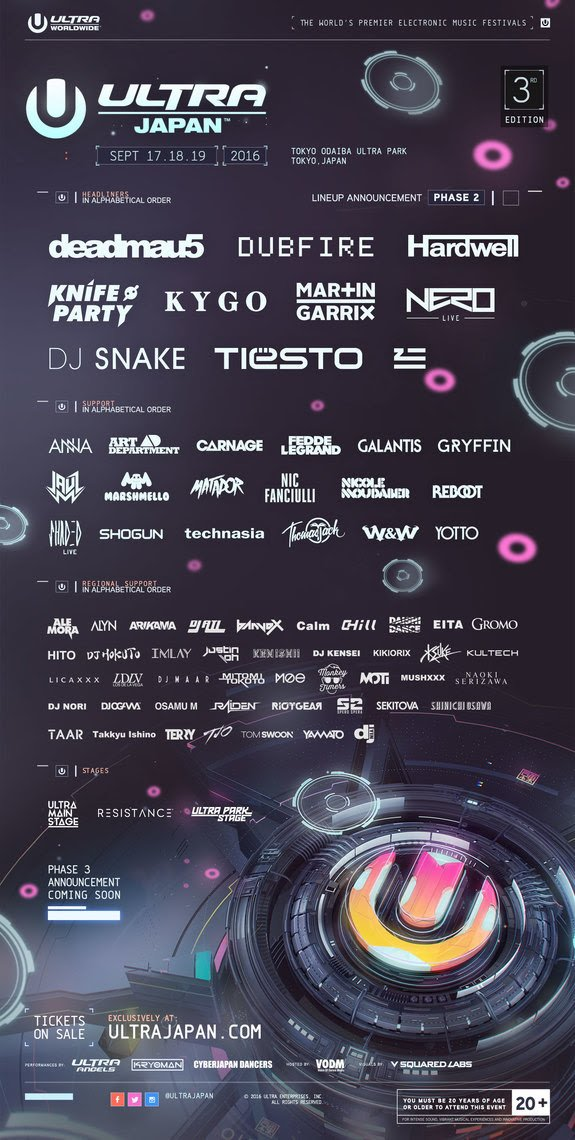Kygo, Knife Party And ZHU Join Ultra Japan With Phase Two Lineup