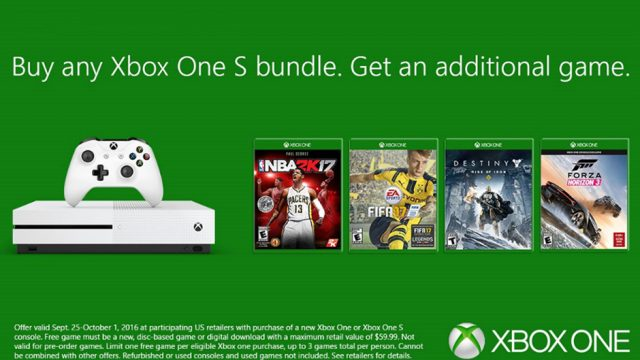 Get A Free Game With Any Xbox One S Bundle Purchase For One Week Only