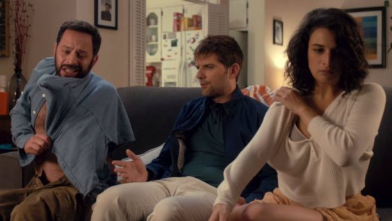 Nick Kroll, Adam Scott and Jenny Slate in My Blind Brother