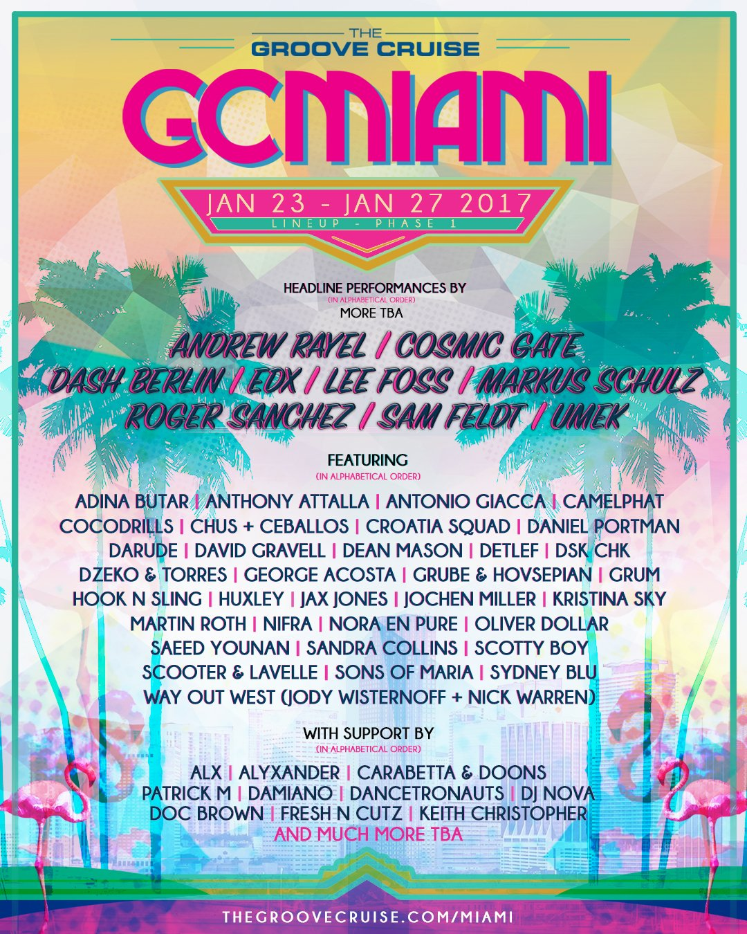 Groove Cruise Miami Reveals First Round Of Lineup For 2017