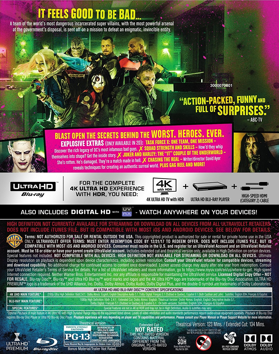Suicide Squad Extended Cut Blu-Ray Bonus Features Revealed, Runtime Clarified