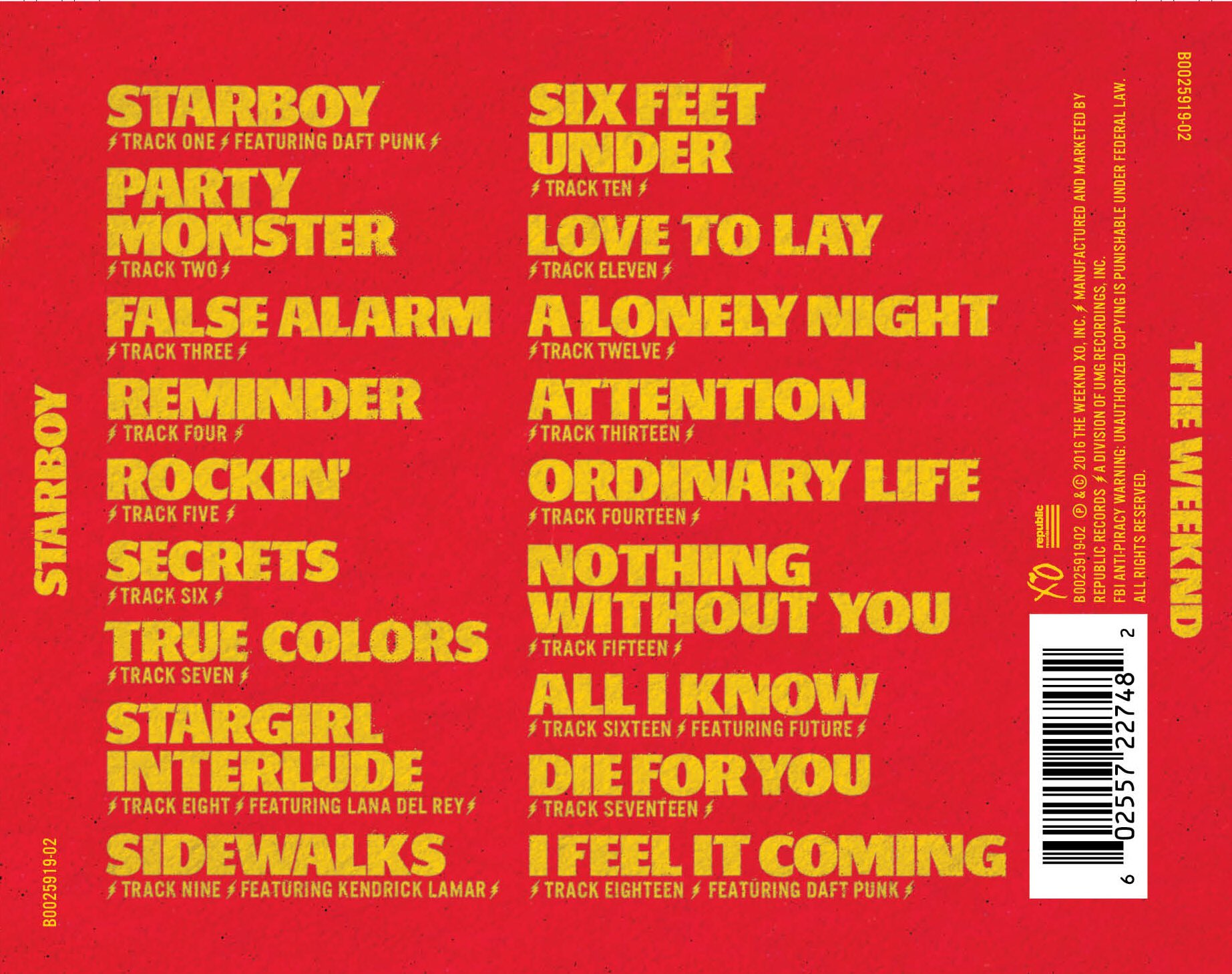 The Weeknd Reveals Official Tracklist For Starboy