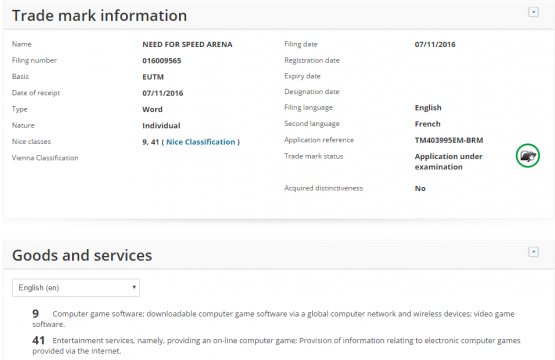 Need For Speed Arena Trademark Registration Filed By EA