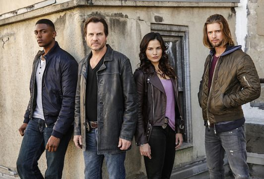 TRAINING DAY - Pictured (L-R): Justin Cornwell as Kyle Craig, Bill Paxton as Frank Rourke, Katrina Law as Rebecca Lee and Drew Van Acker as Tommy Campbell.
