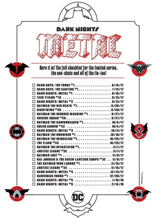 DC Releases Checklist For Dark Nights: Metal