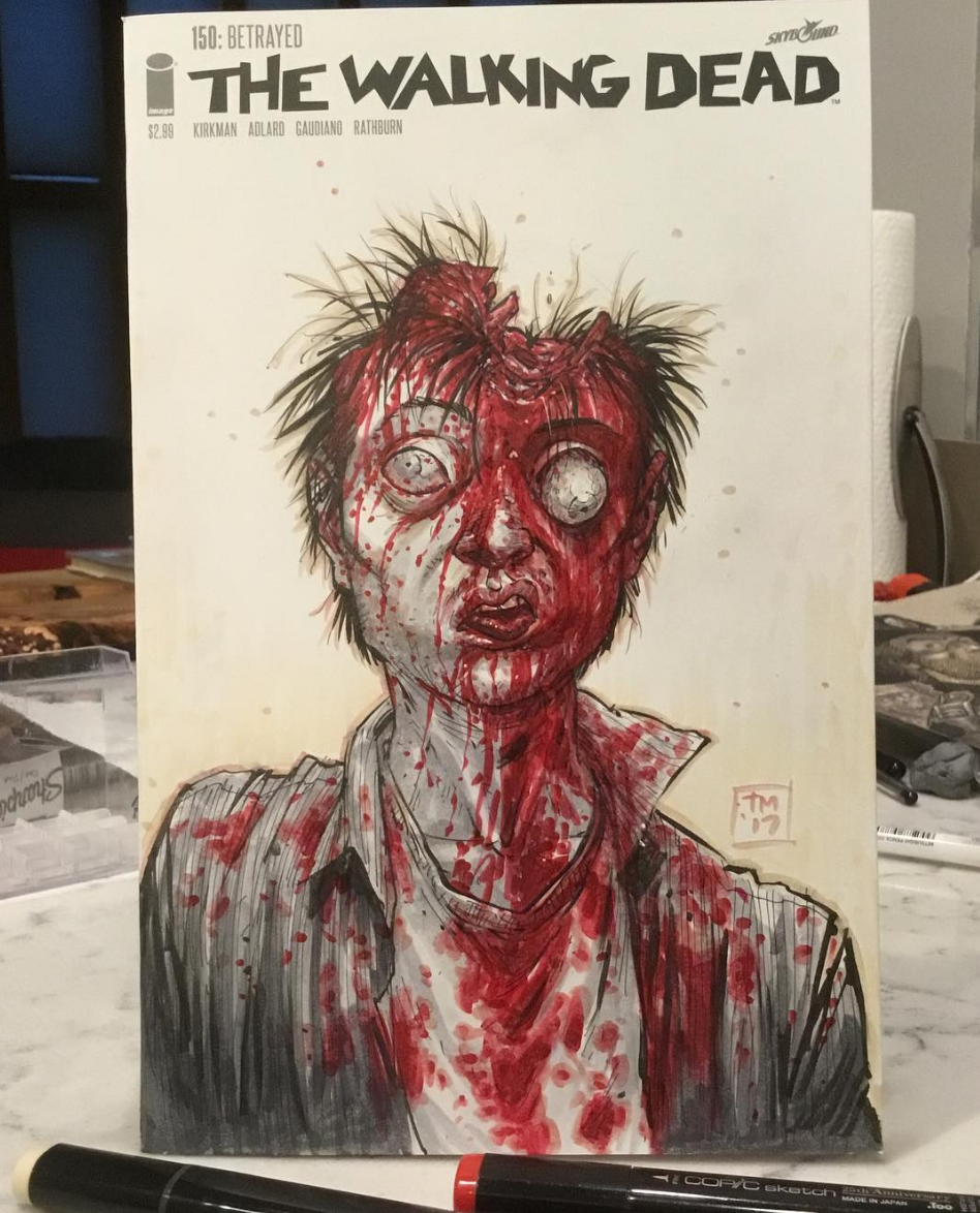 The Walking Dead Artist Posts His Own Grisly Version Of Glenn's Death Scene
