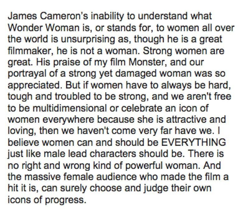 """Patty Jenkins Responds To James Cameron Following Claims That Wonder Woman Was """"A Step Backwards"""""""