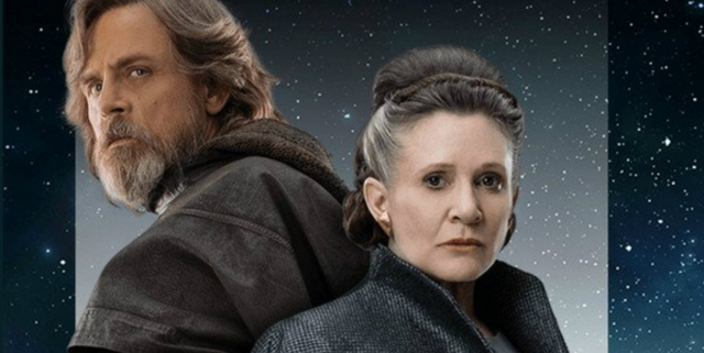 Carrie Fisher and Mark Hamill in The Last Jedi