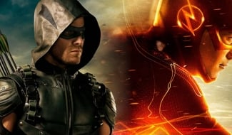 Stephen Amell And Grant Gustin Embrace In New Crisis On Infinite Earths BTS Photo