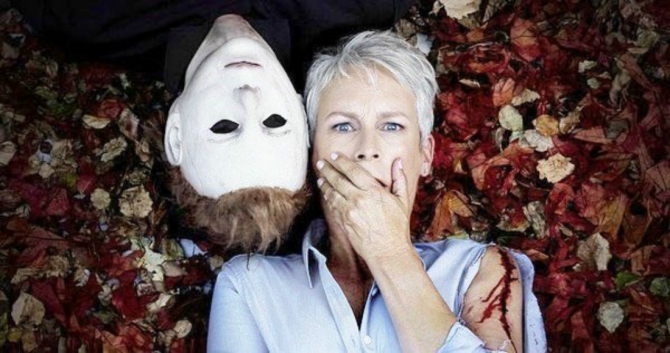 Jamie Lee Curtis and Michael Myers Halloween 2018