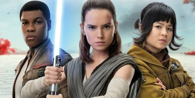 Finn, Rey and Rose in Star Wars: The Last Jedi