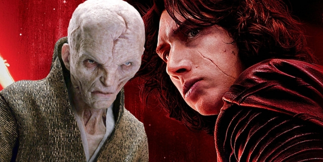 Kylo Ren and Snoke in The Last Jedi