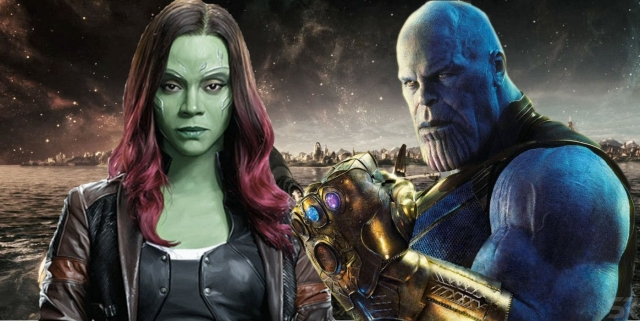 Thanos-Infinity-Gauntlet-and-Gamora-With-The-Bifrost-Bridge-Avengers-Infinity-War-Thanos