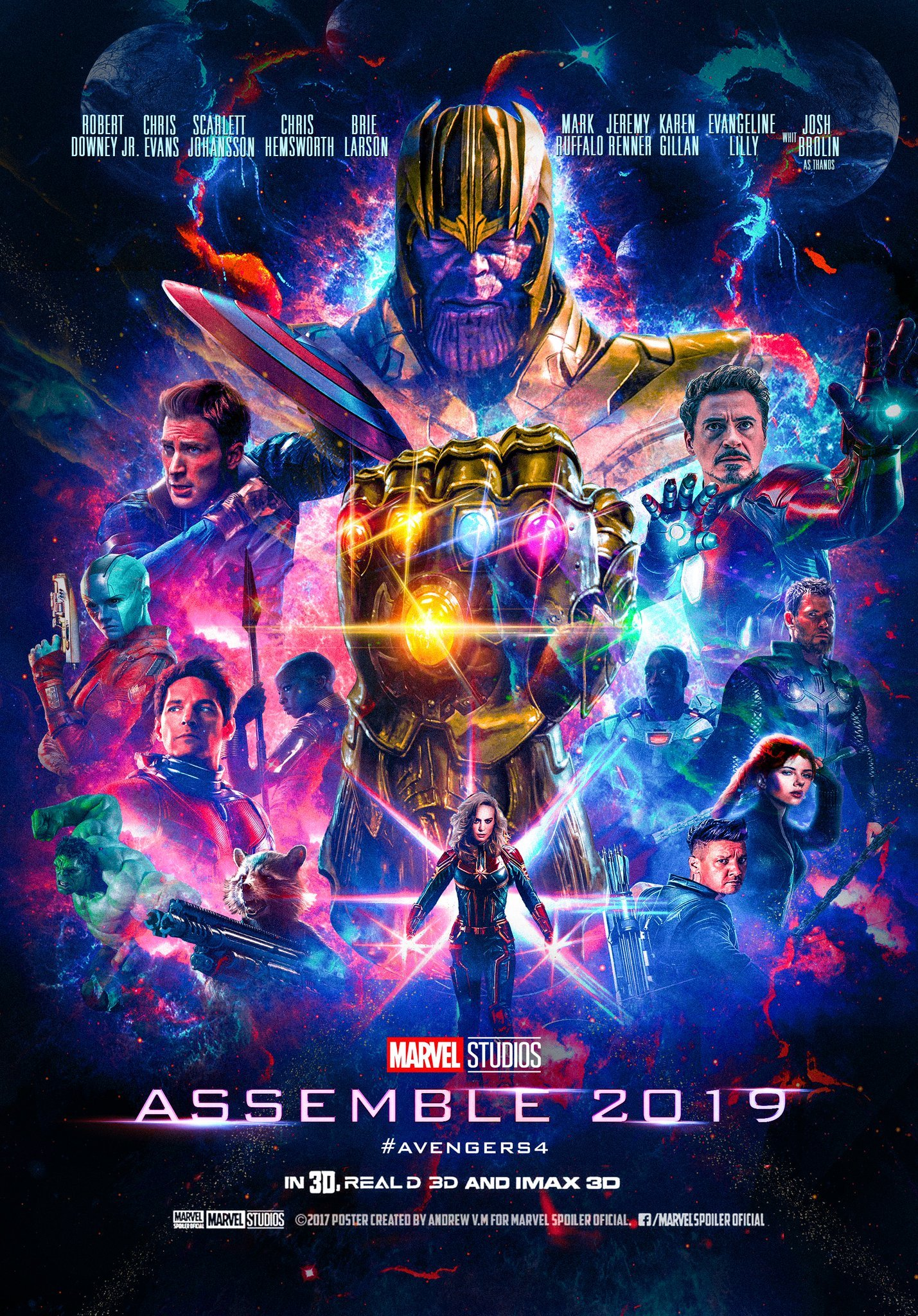 thanos looms large on gorgeous avengers 4 fanmade poster