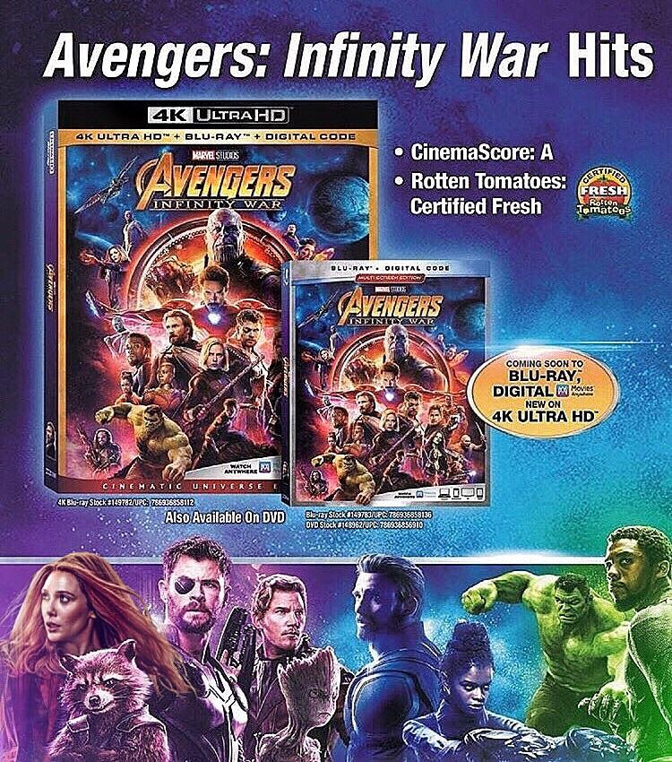Avengers: Infinity War Blu-Ray And 4K UHD Cover Art Revealed