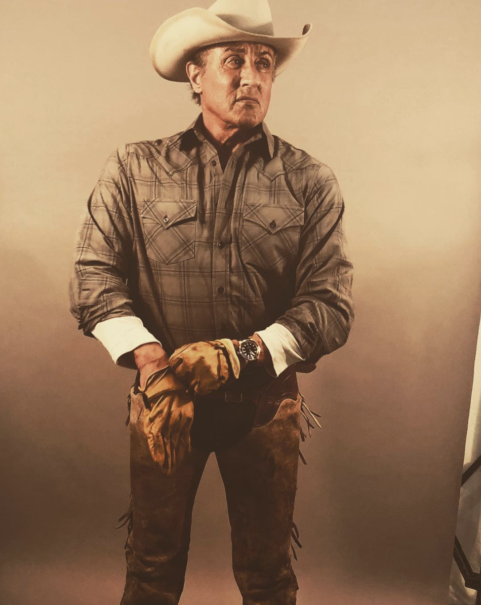 sylvester stallone saddles up for first rambo 5 photos