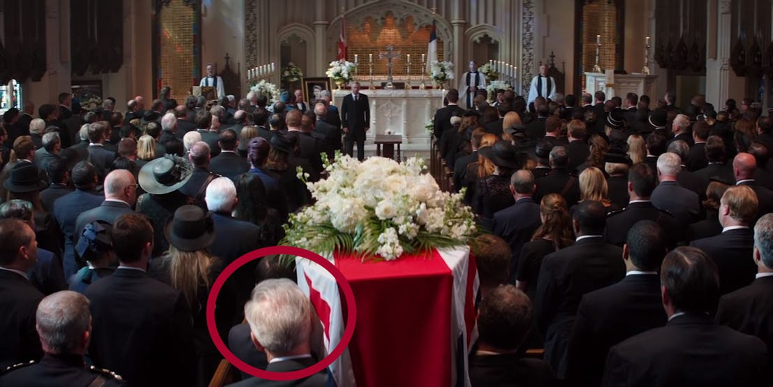 Old Captain America In Peggys Funeral