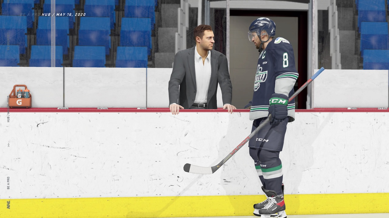 Manager gives a pep talk in Be A Pro in NHL 21