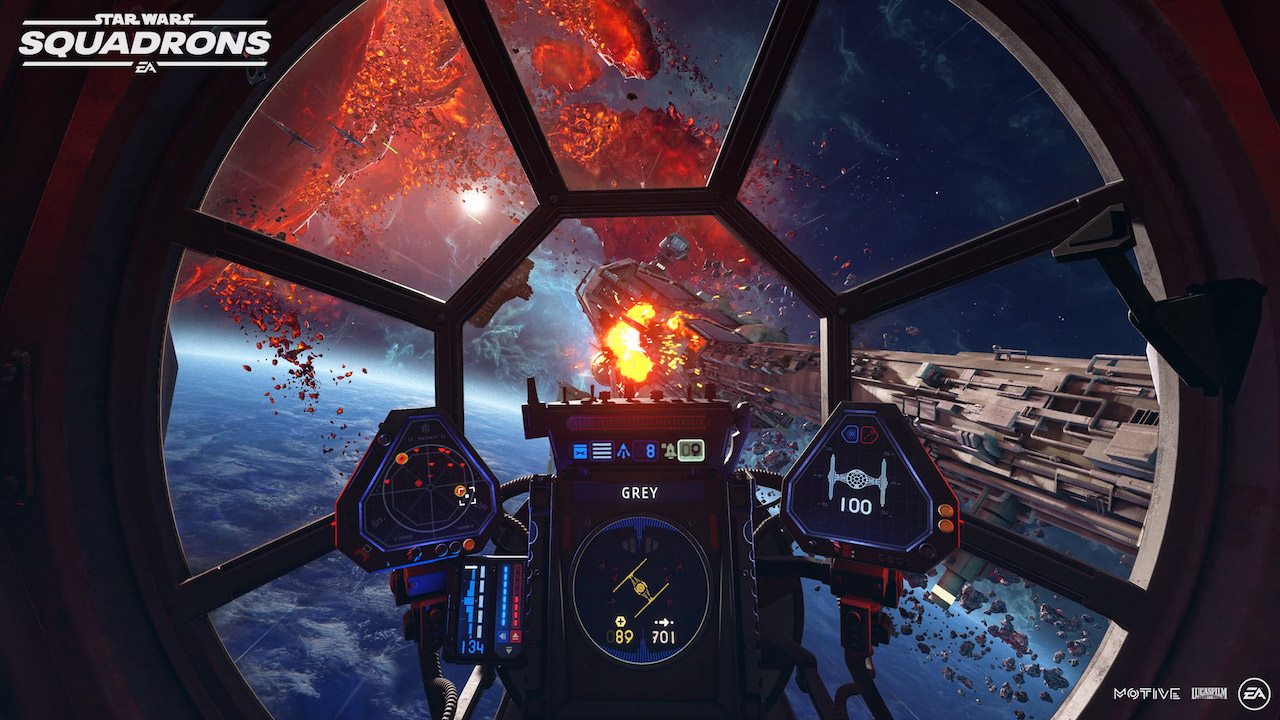A TIE cockpit in Star Wars Squadrons