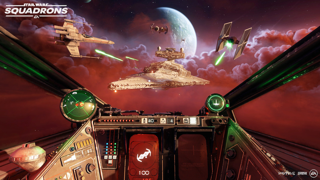 The cockpit of an XWing in Star Wars: Squadrons