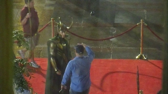 Tom Hiddleston In Full Costume On The Avengers Set