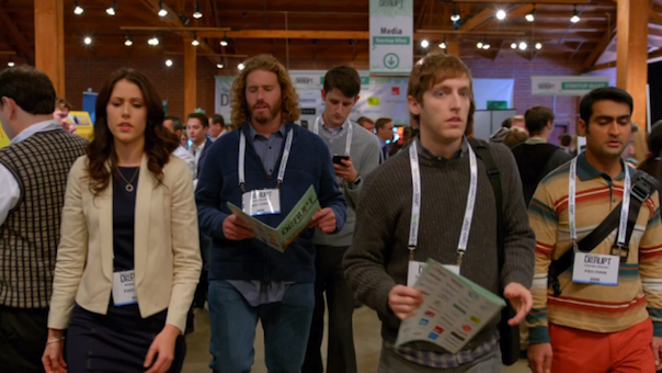 Amanda Crew, T.J. Miller, Zach Woods, Thomas Middleditch and Kumail Nanjiani in Silicon Valley
