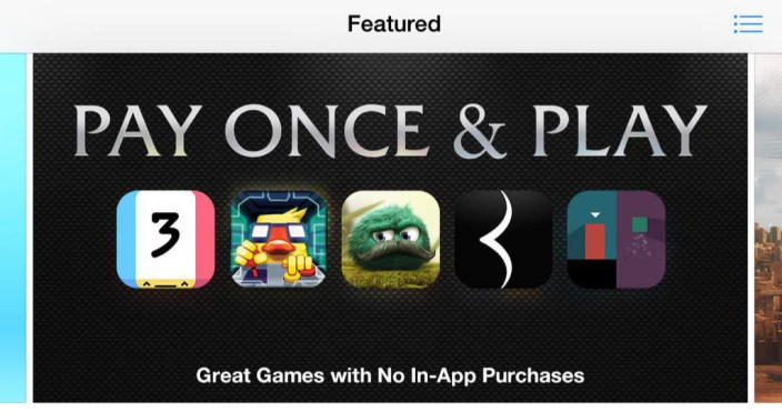 Apple Highlights Games With No In-App Purchases Through App Store's Pay Once & Play Section