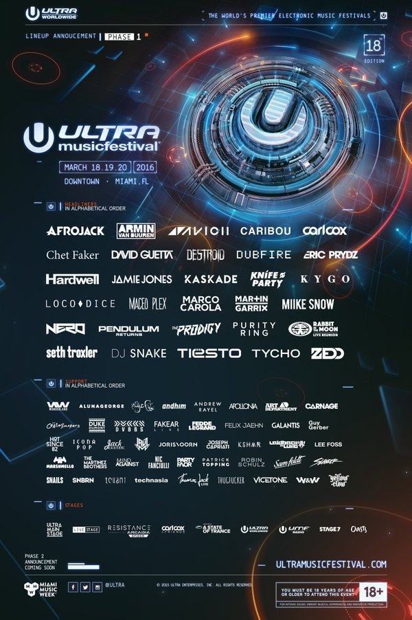 Ultra Music Festival Drops Massive Phase 1 Lineup For 2016