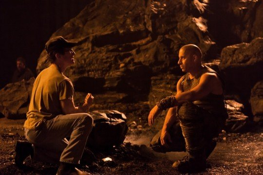 David Twohy and Vin Diesel on the set of Riddick