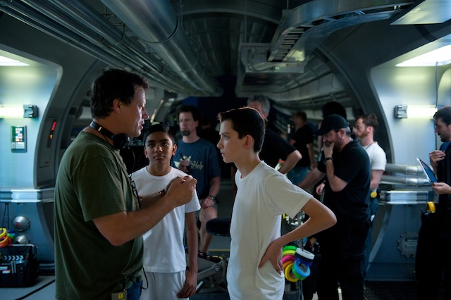 Gavin Hood, Suraj Partha and Asa Butterfield in Ender's Game