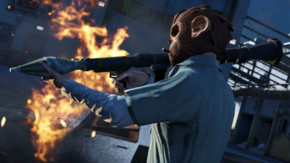 Grand Theft Auto 5 Trevor Monkey Mask 570x320 10 Questions/Observations About Grand Theft Auto V From A Non Gamer