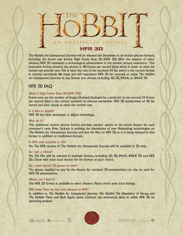 HFR3D Hobbit Letter FAQ FIN 620x799 High Frame Rate Locations For The Hobbit: An Unexpected Journey Released