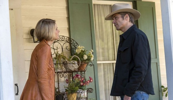 Joelle Carter and Timothy Olyphant in Justified