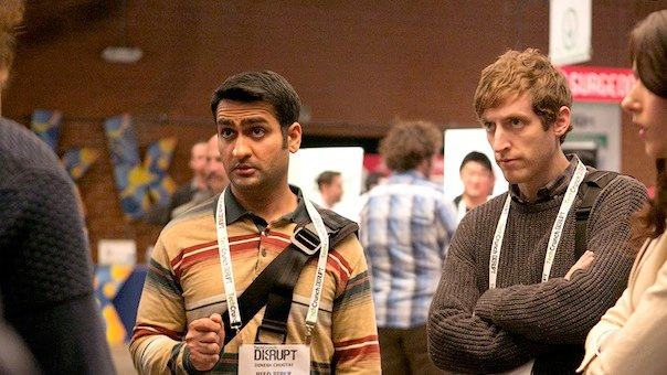 Kumail Nanjiani and Thomas Middleditch in Silicon Valley