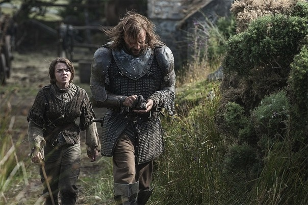 Maisie Williams and Rory McCann in Game of Thrones