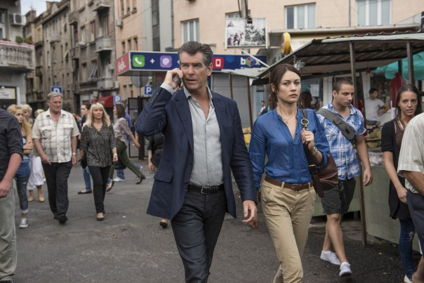 Pierce Brosnan and Olga Kurylenko in The November Man