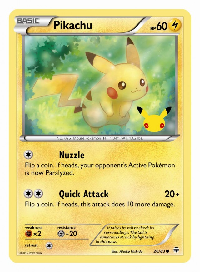 Pokemon 20 Pikachu ltd ed card