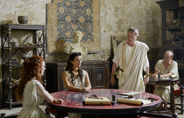 Rachel Brosnahan Cote de Pablo and Sam Neil in The Dovekeepers
